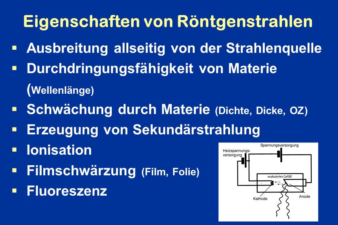 Eigenschaften von Röntgenstrahlen Ausbreitung allseitig von der Strahlenquelle Durchdringungsfähigkeit von Materie ( Wellenlänge) Schwächung durch Mat