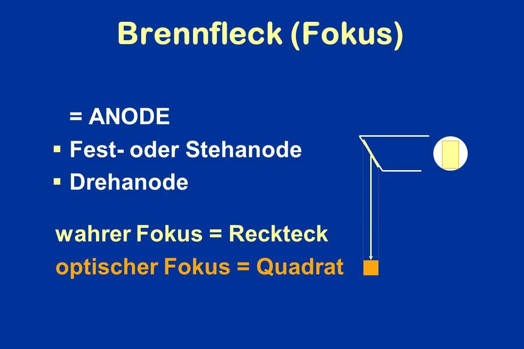 Brennfleck (Fokus) = ANODE Fest- oder Stehanode Drehanode wahrer Fokus = Reckteck optischer Fokus = Quadrat