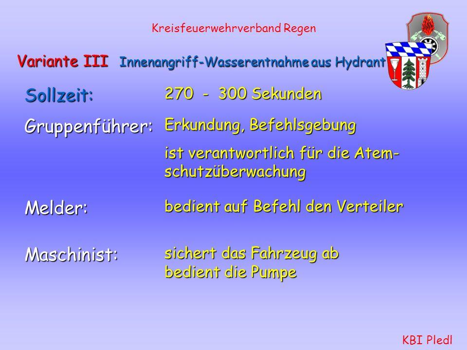 Kreisfeuerwehrverband Regen KBI Pledl Variante II Außenangriff-Wasserentnahme aus Gewässer Schlauchtrupp: Aufbau der Saugleitung wie bisher. stellt si