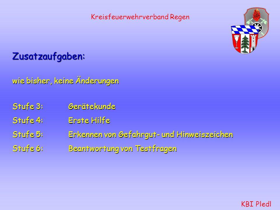 Kreisfeuerwehrverband Regen KBI Pledl Schlauchtrupp: Mastwurf gelegt mit Halbschlag an Strahlrohr Höchstzeit: 15Sekunden Knoten und Stiche: