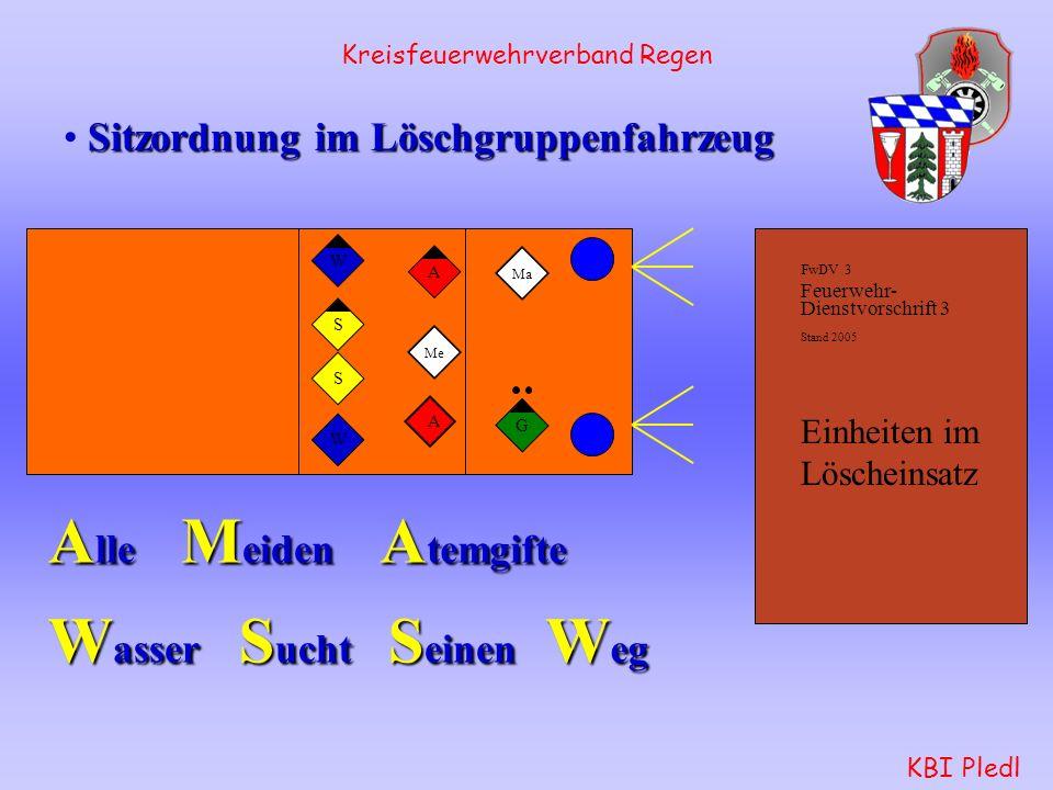 Kreisfeuerwehrverband Regen KBI Pledl Wassertrupp: verlegt zuerst die B-Leitung von der Pumpe zum Verteiler.