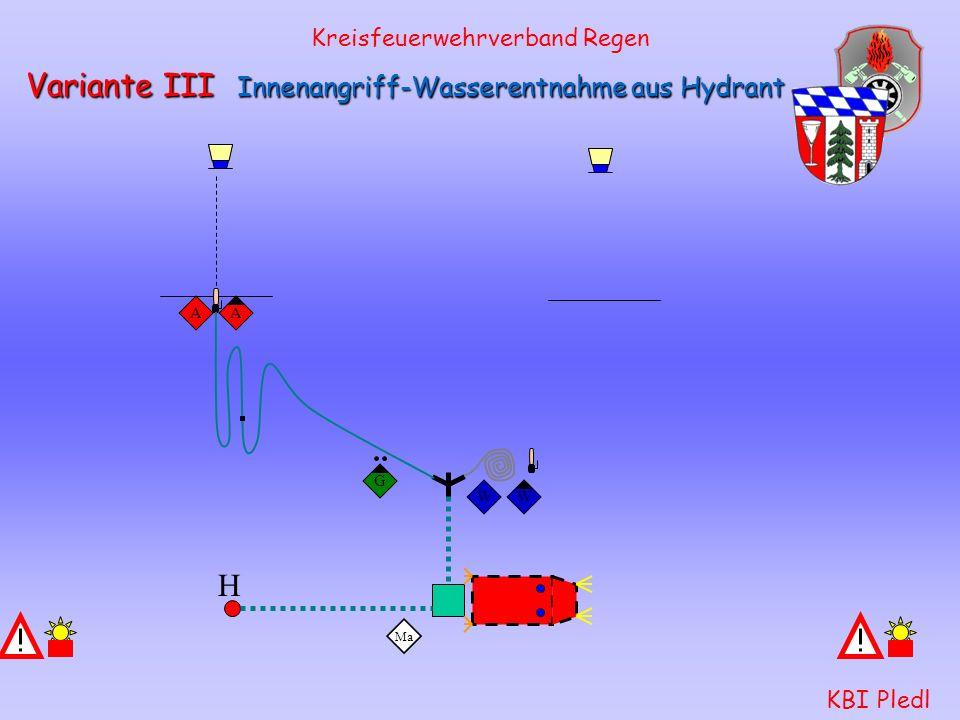 Kreisfeuerwehrverband Regen KBI Pledl Variante III Innenangriff-Wasserentnahme aus Hydrant Ma G H S SWWWAA