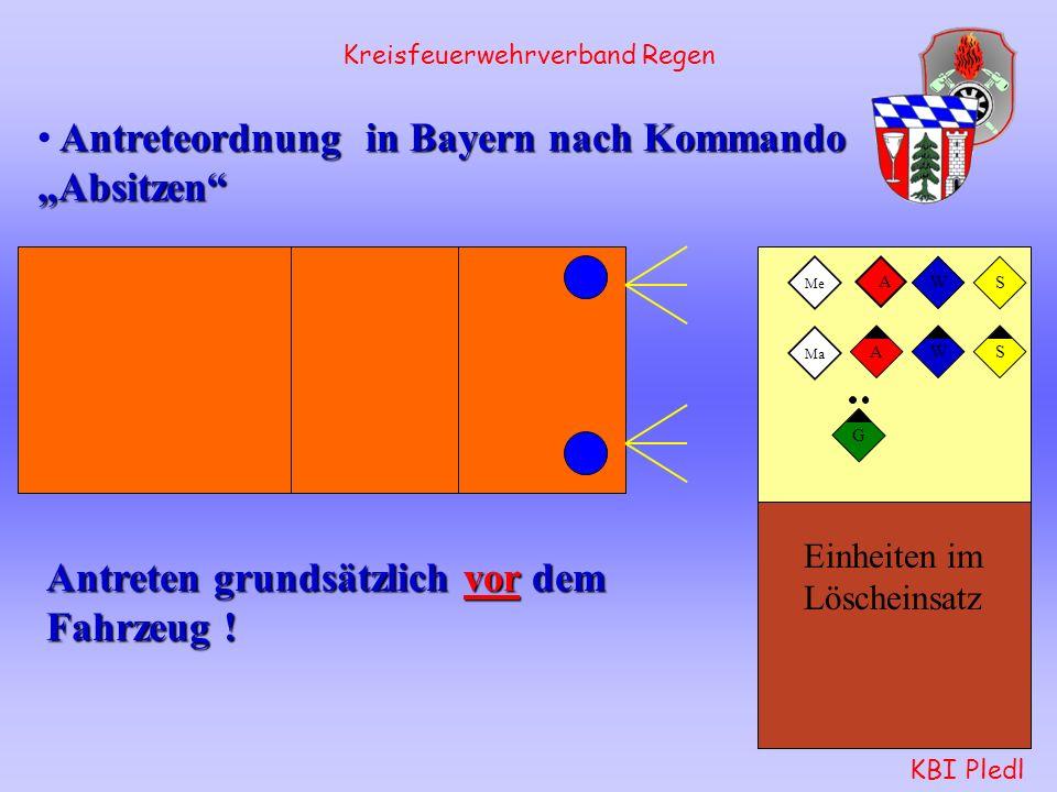 FwDV 3 Feuerwehr- Dienstvorschrift 3 Stand 2005 Einheiten im Löscheinsatz Kreisfeuerwehrverband Regen KBI Pledl Antreteordnung in Bayern nach Kommando Absitzen Antreten grundsätzlich vor dem Fahrzeug .