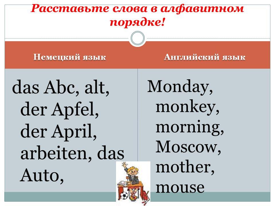 Немецкий язык Английский язык das Abc, alt, der Apfel, der April, arbeiten, das Auto, Monday, monkey, morning, Moscow, mother, mouse Расставьте слова