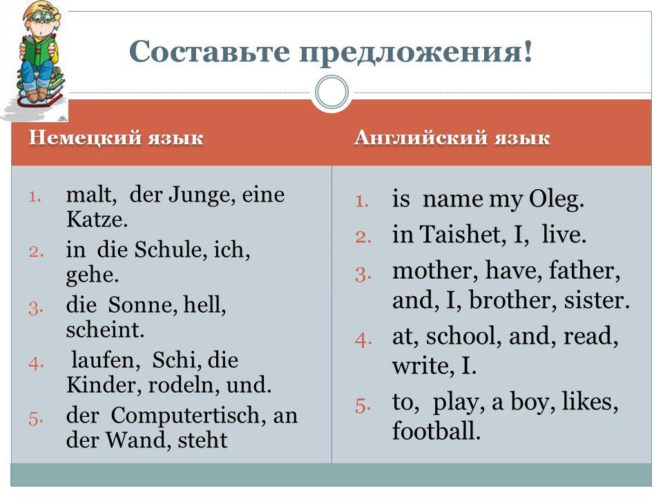 Немецкий язык Английский язык 1.Ich bin fleißig. 2.