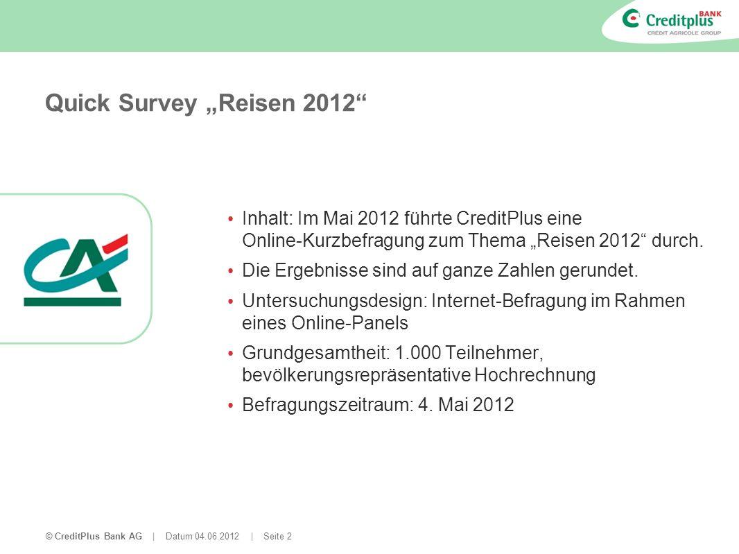 © CreditPlus Bank AG | Datum 04.06.2012 | Seite 3 Quick Survey: Überblick über die Fragen Welcher Reisetyp sind Sie.