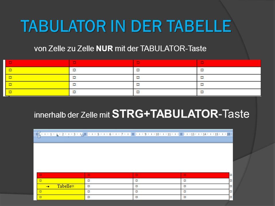 TABULATOR IN DER TABELLE innerhalb der Zelle mit STRG+TABULATOR-Taste von Zelle zu Zelle NUR mit der TABULATOR-Taste