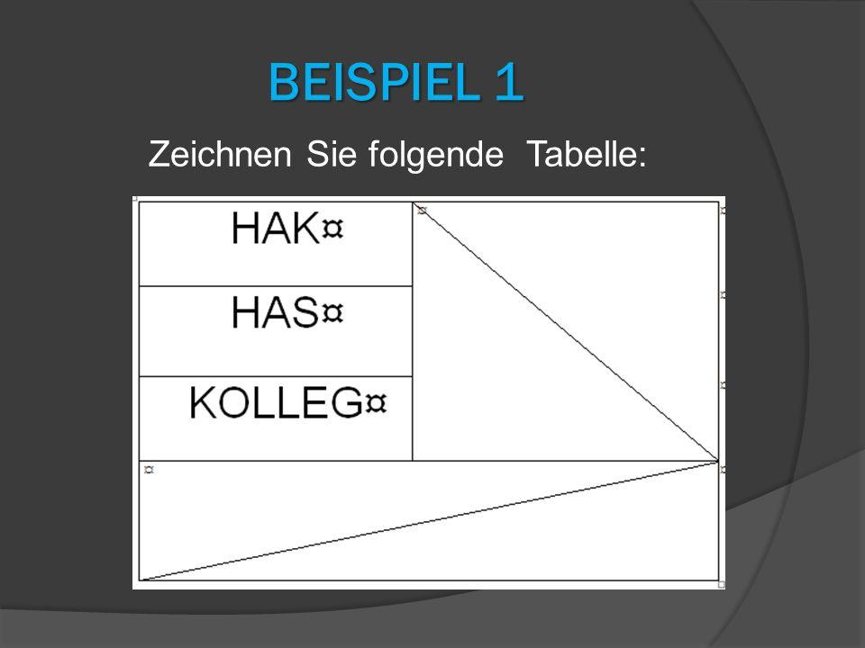 BEISPIEL 1 Zeichnen Sie folgende Tabelle: