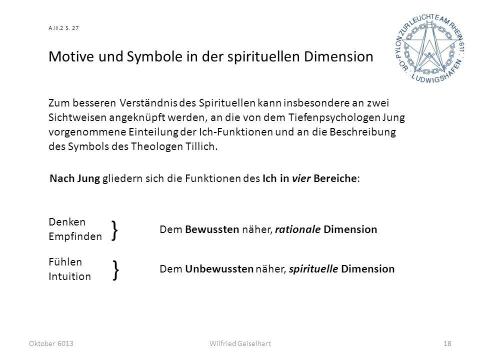 Oktober 6013Wilfried Geiselhart18 Motive und Symbole in der spirituellen Dimension Zum besseren Verständnis des Spirituellen kann insbesondere an zwei