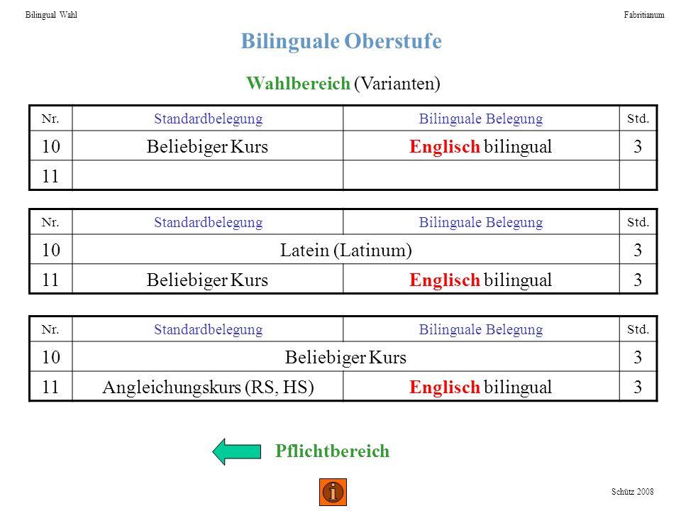 Bilinguale Oberstufe Bilingual WahlFabritianum Schütz 2008 Nr. StandardbelegungBilinguale Belegung Std. 10Beliebiger KursEnglisch bilingual3 11 Wahlbe