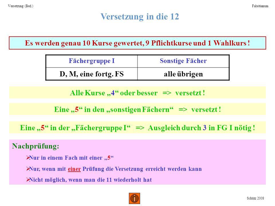 Versetzung in die 12 Versetzung (Bed.)Fabritianum Schütz 2008 Es werden genau 10 Kurse gewertet, 9 Pflichtkurse und 1 Wahlkurs ! Alle Kurse 4 oder bes