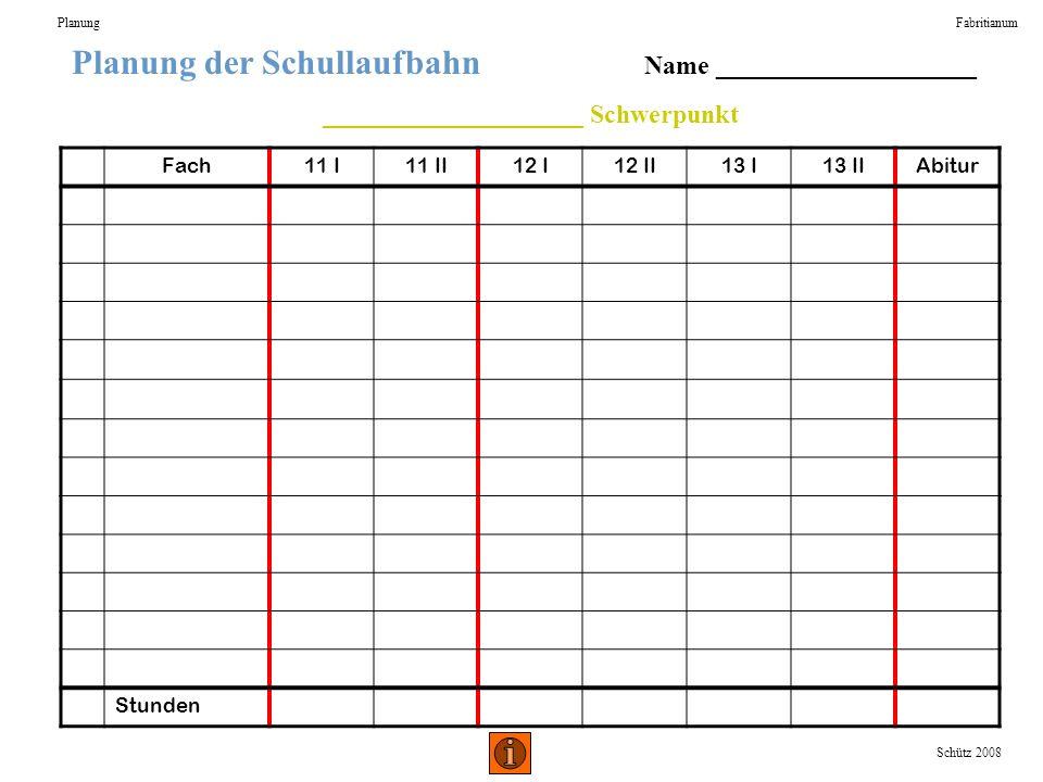 Planung der Schullaufbahn Name ____________________ ____________________ Schwerpunkt PlanungFabritianum Schütz 2008 Fach11 I11 II12 I12 II13 I13 IIAbi