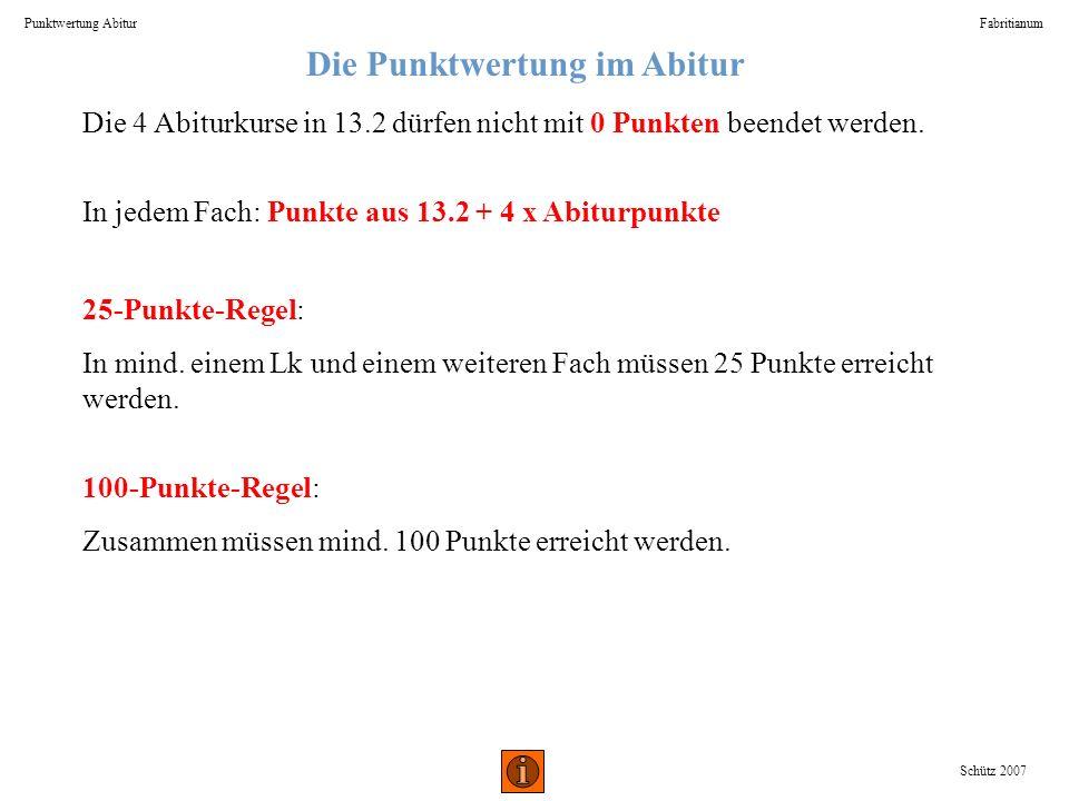Die Punktwertung im Abitur Punktwertung AbiturFabritianum Schütz 2007 Die 4 Abiturkurse in 13.2 dürfen nicht mit 0 Punkten beendet werden. In jedem Fa