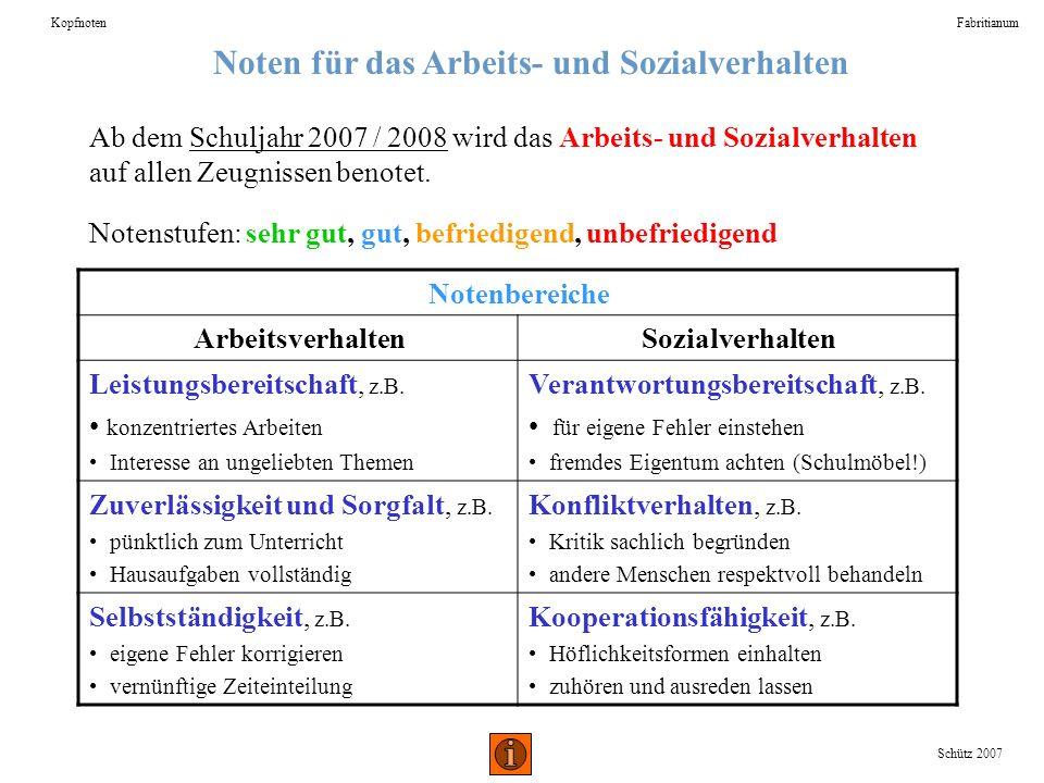 Noten für das Arbeits- und Sozialverhalten KopfnotenFabritianum Schütz 2007 Ab dem Schuljahr 2007 / 2008 wird das Arbeits- und Sozialverhalten auf all