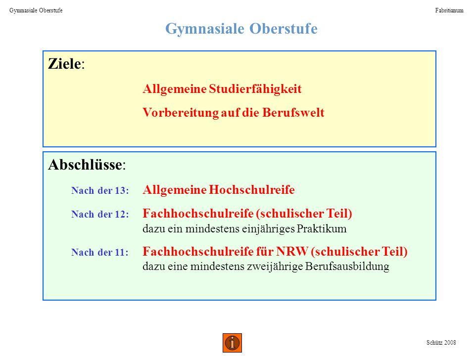 Gymnasiale Oberstufe Fabritianum Schütz 2008 Ziele: Allgemeine Studierfähigkeit Vorbereitung auf die Berufswelt Abschlüsse: Nach der 13: Allgemeine Ho