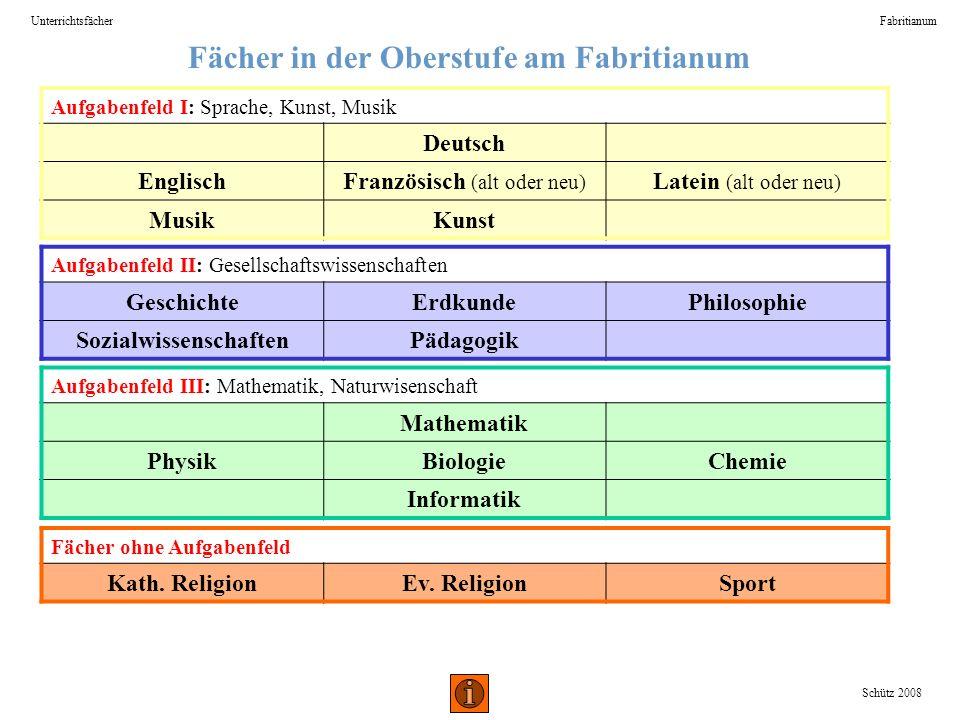 Fächer in der Oberstufe am Fabritianum UnterrichtsfächerFabritianum Schütz 2008 Aufgabenfeld I: Sprache, Kunst, Musik Deutsch EnglischFranzösisch (alt
