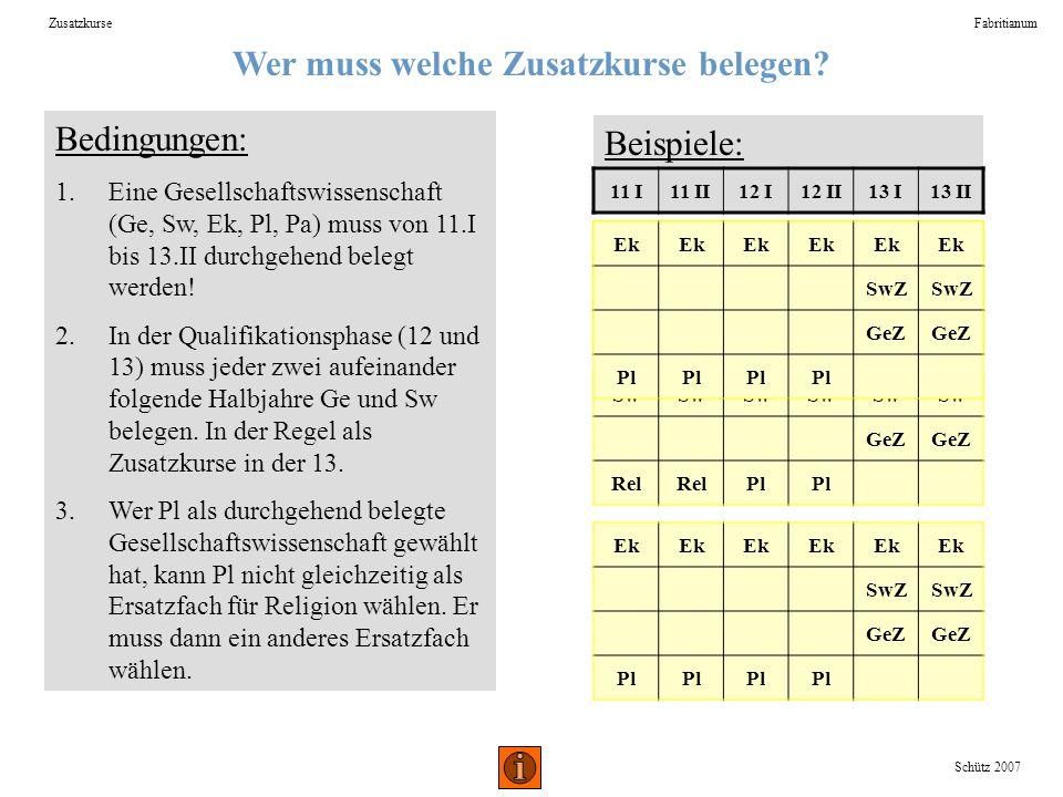 Wer muss welche Zusatzkurse belegen? ZusatzkurseFabritianum Bedingungen: 1.Eine Gesellschaftswissenschaft (Ge, Sw, Ek, Pl, Pa) muss von 11.I bis 13.II