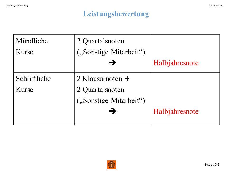 Leistungsbewertung Fabritianum Schütz 2008 Mündliche Kurse 2 Quartalsnoten (Sonstige Mitarbeit) Halbjahresnote Schriftliche Kurse 2 Klausurnoten + 2 Q