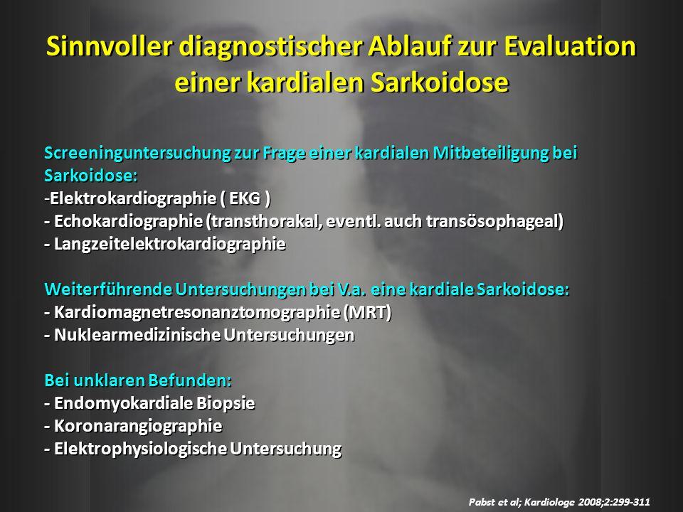 Sinnvoller diagnostischer Ablauf zur Evaluation einer kardialen Sarkoidose Pabst et al; Kardiologe 2008;2:299-311 Screeninguntersuchung zur Frage eine