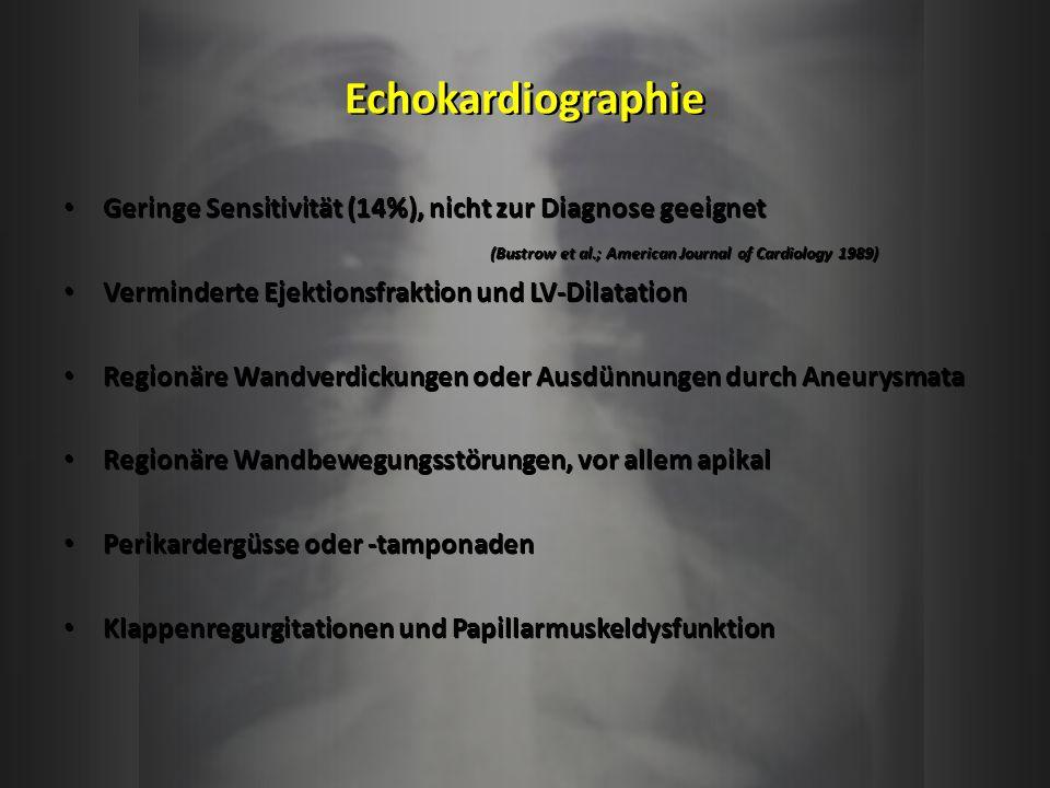 Echokardiographie Geringe Sensitivität (14%), nicht zur Diagnose geeignet (Bustrow et al.; American Journal of Cardiology 1989) Verminderte Ejektionsf
