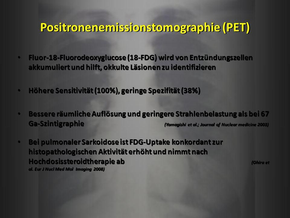 Positronenemissionstomographie (PET) Fluor-18-Fluorodeoxyglucose (18-FDG) wird von Entzündungszellen akkumuliert und hilft, okkulte Läsionen zu identi