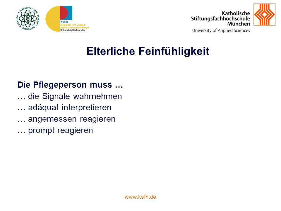 www.ksfh.de Elterliche Feinfühligkeit Die Pflegeperson muss … … die Signale wahrnehmen … adäquat interpretieren … angemessen reagieren … prompt reagieren