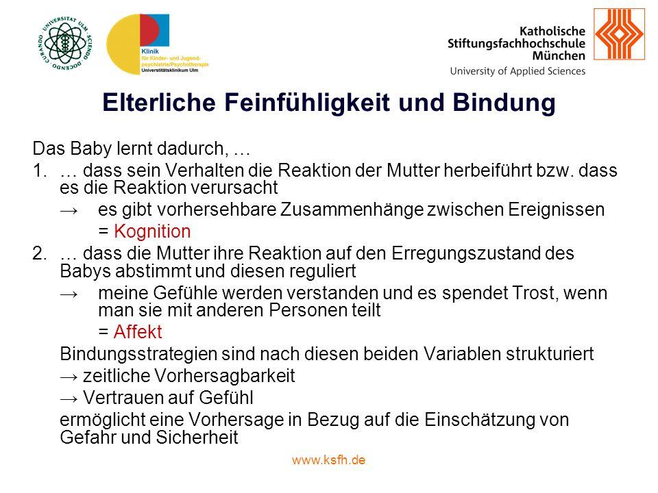www.ksfh.de Elterliche Feinfühligkeit und Bindung Das Baby lernt dadurch, … 1.… dass sein Verhalten die Reaktion der Mutter herbeiführt bzw.