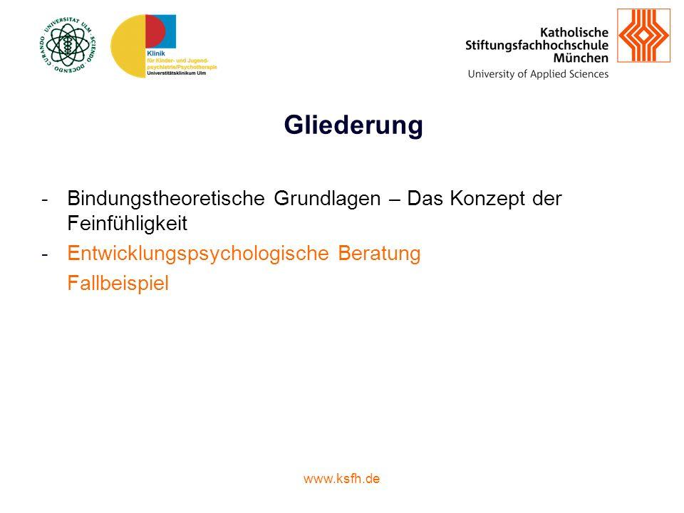 www.ksfh.de Gliederung -Bindungstheoretische Grundlagen – Das Konzept der Feinfühligkeit -Entwicklungspsychologische Beratung Fallbeispiel