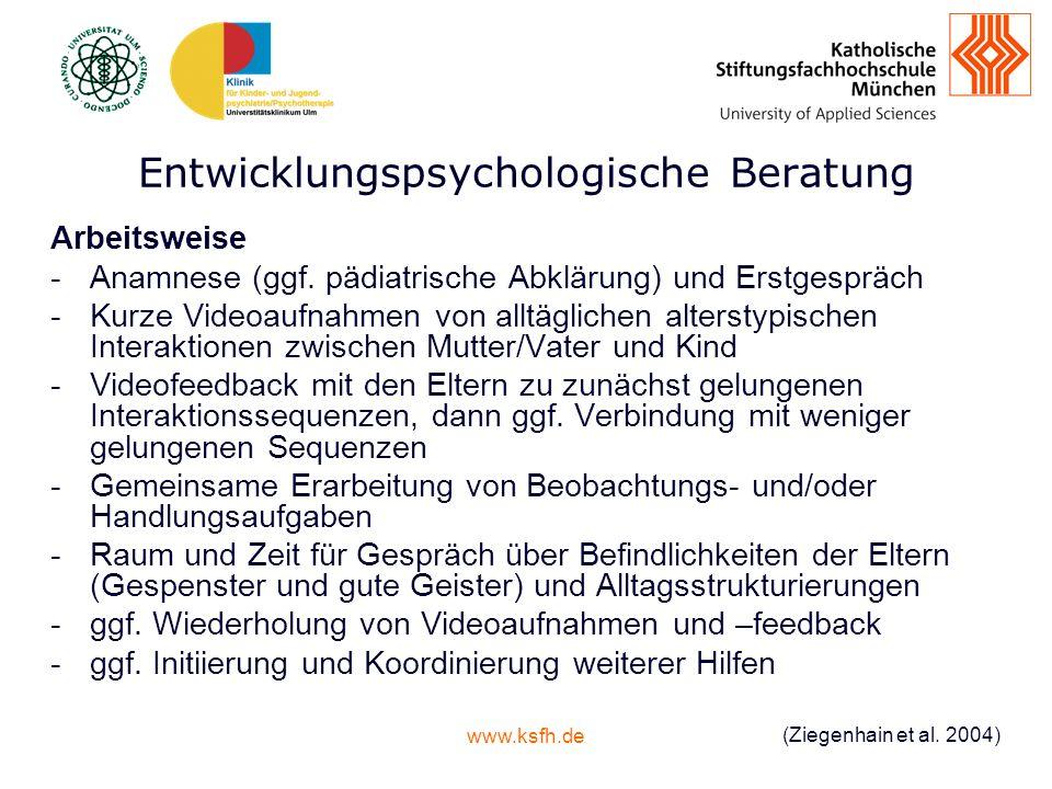 www.ksfh.de Entwicklungspsychologische Beratung Arbeitsweise -Anamnese (ggf.