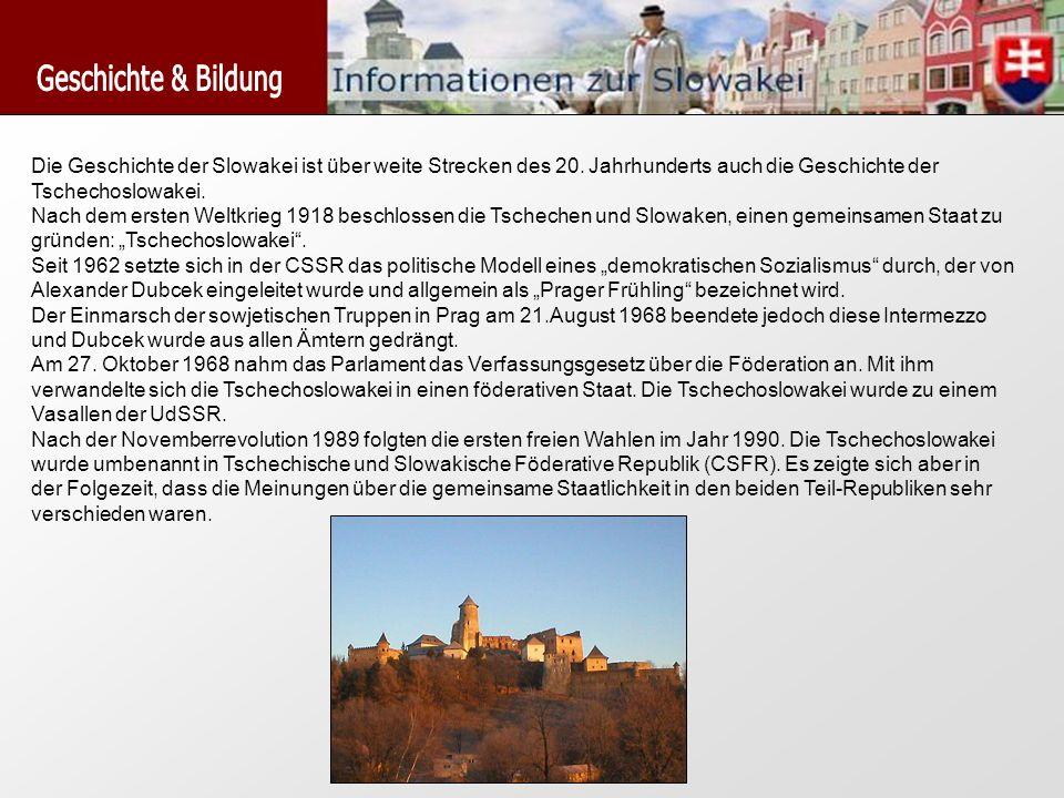 Die Geschichte der Slowakei ist über weite Strecken des 20. Jahrhunderts auch die Geschichte der Tschechoslowakei. Nach dem ersten Weltkrieg 1918 besc