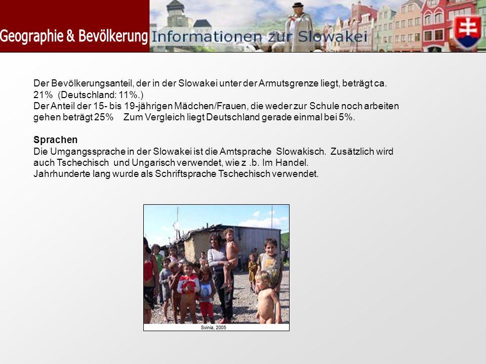 Der Bevölkerungsanteil, der in der Slowakei unter der Armutsgrenze liegt, beträgt ca. 21% (Deutschland: 11%.) Der Anteil der 15- bis 19-jährigen Mädch