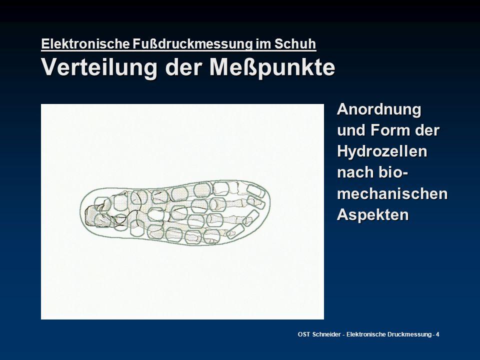 OST Schneider - Elektronische Druckmessung - 4 Elektronische Fußdruckmessung im Schuh Verteilung der Meßpunkte Anordnung und Form der Hydrozellen nach