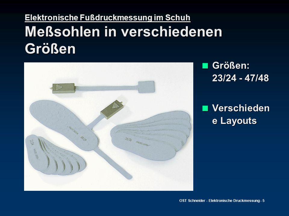 OST Schneider - Elektronische Druckmessung - 6 Elektronische Fußdruckmessung im Schuh Optische Darstellung der Druckverteilung Argumentation der Notwendigkeit bzw.