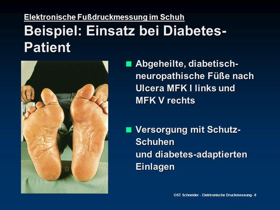 OST Schneider - Elektronische Druckmessung - 8 Elektronische Fußdruckmessung im Schuh Beispiel: Einsatz bei Diabetes- Patient Abgeheilte, diabetisch-