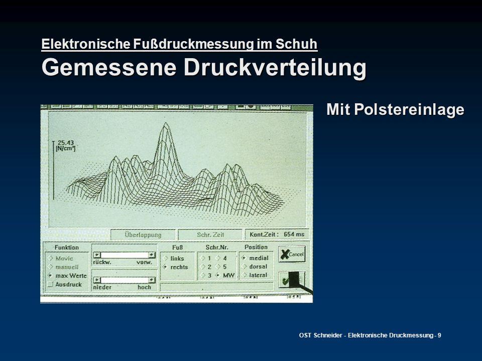 OST Schneider - Elektronische Druckmessung - 10 Elektronische Fußdruckmessung im Schuh Gemessene Druckverteilung Mit diabetes- adaptierter Einlage