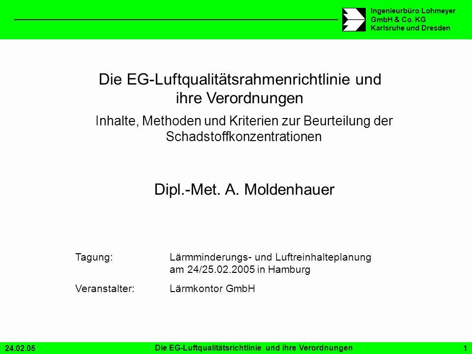 24.02.05Die EG-Luftqualitätsrichtlinie und ihre Verordnungen1 Ingenieurbüro Lohmeyer GmbH & Co. KG Karlsruhe und Dresden Die EG-Luftqualitätsrahmenric