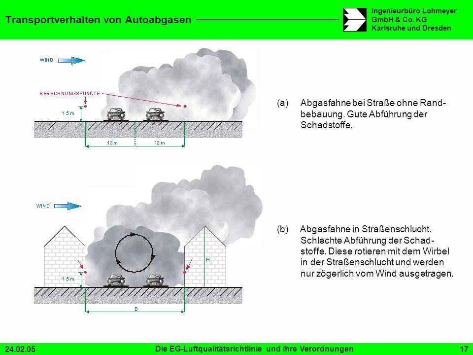 24.02.05Die EG-Luftqualitätsrichtlinie und ihre Verordnungen17 Ingenieurbüro Lohmeyer GmbH & Co. KG Karlsruhe und Dresden Transportverhalten von Autoa