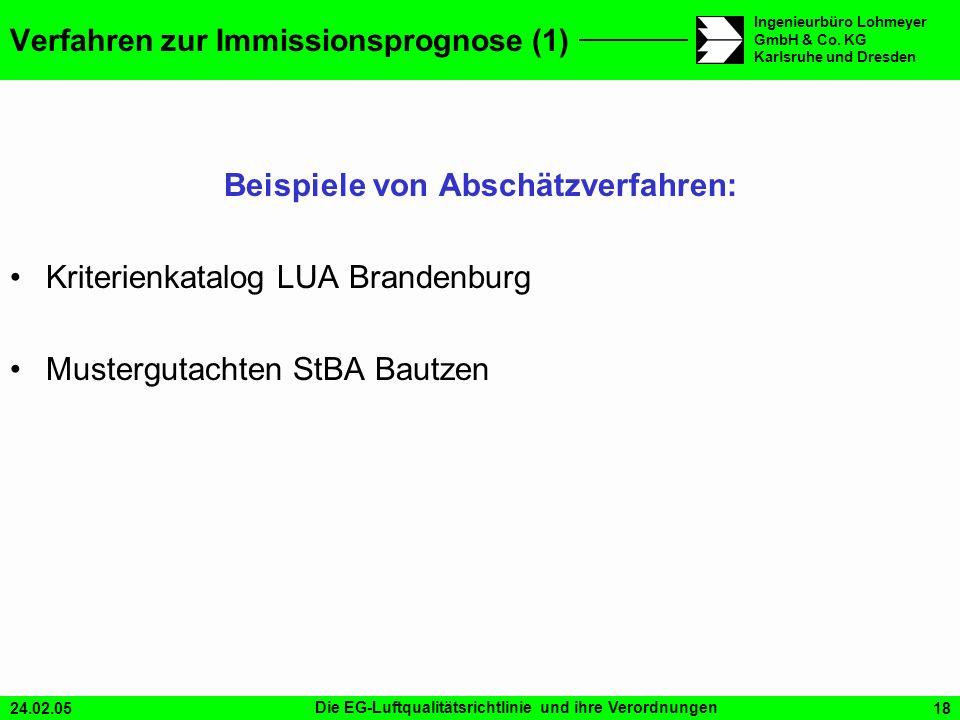 24.02.05Die EG-Luftqualitätsrichtlinie und ihre Verordnungen18 Ingenieurbüro Lohmeyer GmbH & Co. KG Karlsruhe und Dresden Beispiele von Abschätzverfah