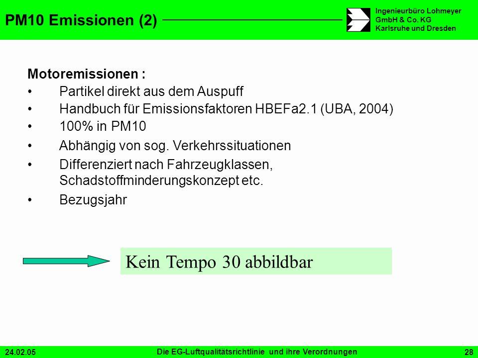 24.02.05Die EG-Luftqualitätsrichtlinie und ihre Verordnungen28 Ingenieurbüro Lohmeyer GmbH & Co. KG Karlsruhe und Dresden Kein Tempo 30 abbildbar PM10