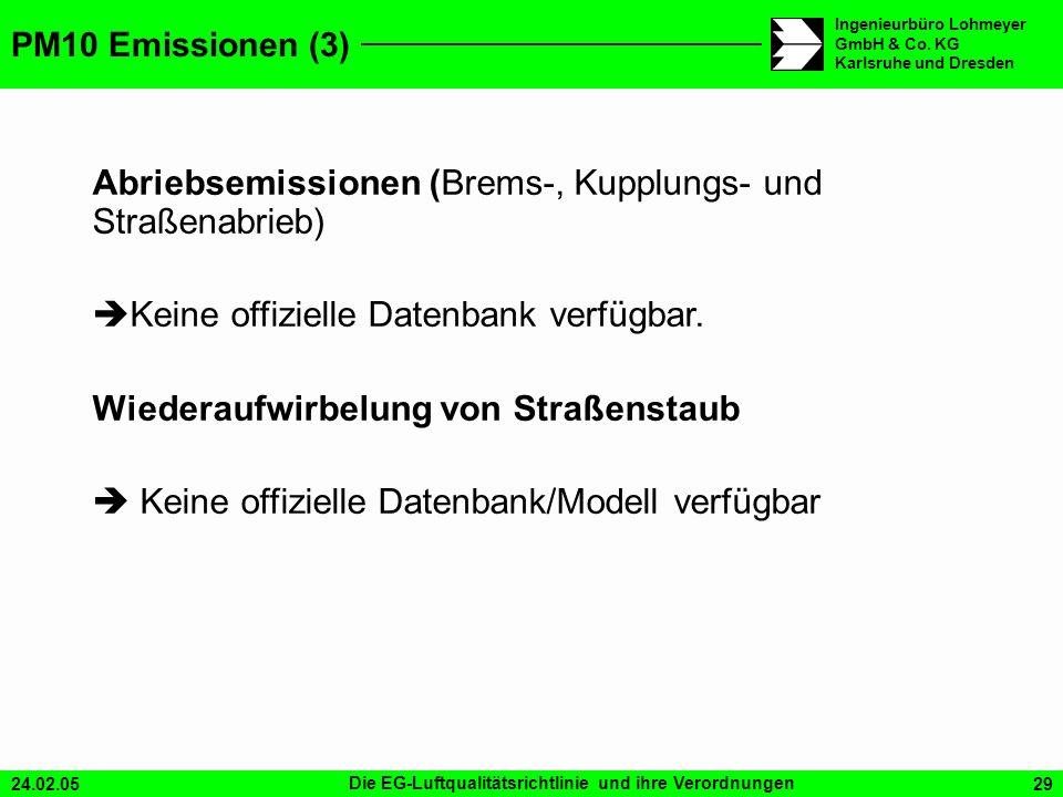 24.02.05Die EG-Luftqualitätsrichtlinie und ihre Verordnungen29 Ingenieurbüro Lohmeyer GmbH & Co. KG Karlsruhe und Dresden PM10 Emissionen (3) Abriebse