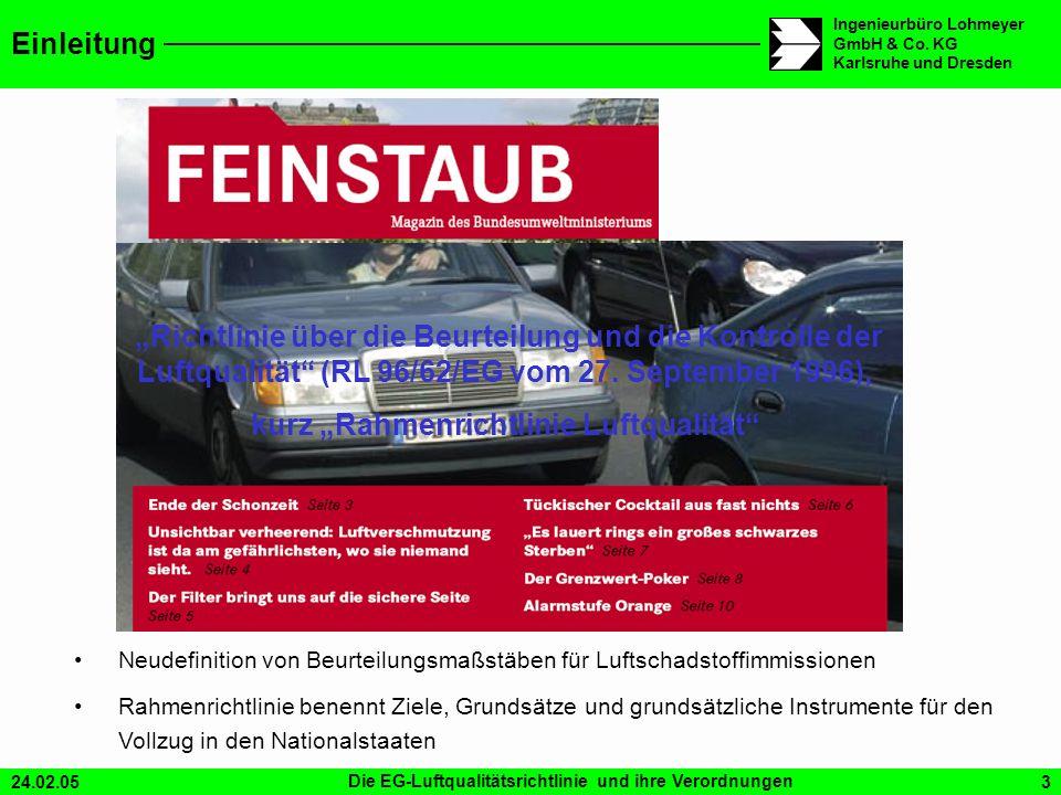 24.02.05Die EG-Luftqualitätsrichtlinie und ihre Verordnungen3 Ingenieurbüro Lohmeyer GmbH & Co. KG Karlsruhe und Dresden Einleitung Richtlinie über di