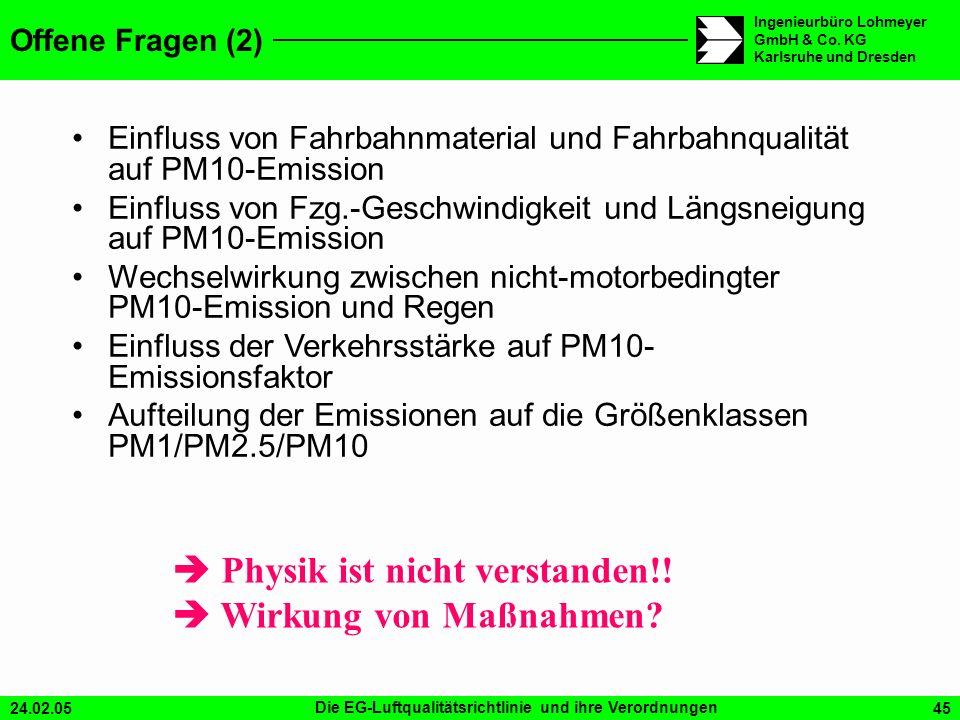 24.02.05Die EG-Luftqualitätsrichtlinie und ihre Verordnungen45 Ingenieurbüro Lohmeyer GmbH & Co. KG Karlsruhe und Dresden Einfluss von Fahrbahnmateria