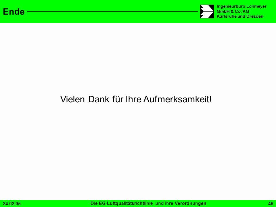 24.02.05Die EG-Luftqualitätsrichtlinie und ihre Verordnungen46 Ingenieurbüro Lohmeyer GmbH & Co. KG Karlsruhe und Dresden Ende Vielen Dank für Ihre Au
