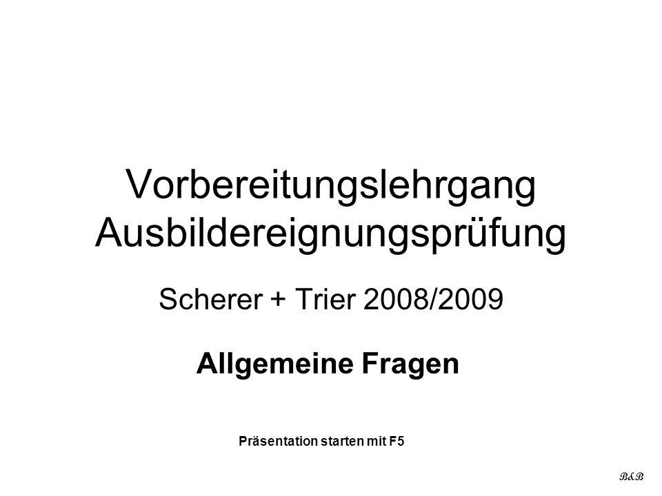 Vorbereitungslehrgang Ausbildereignungsprüfung Scherer + Trier 2008/2009 Allgemeine Fragen B&B Präsentation starten mit F5