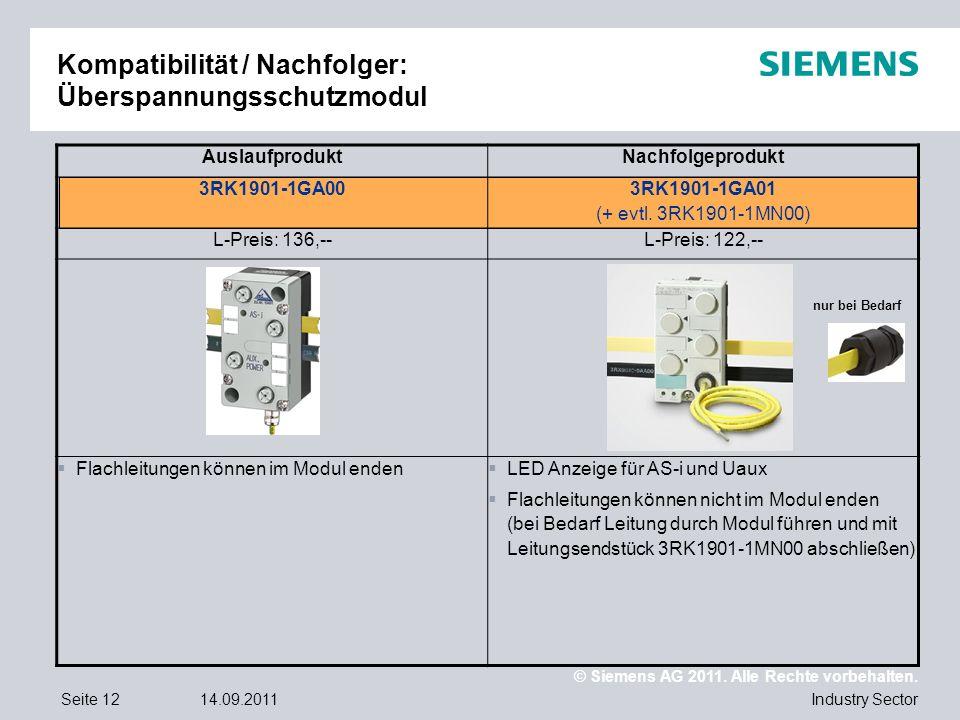 © Siemens AG 2011. Alle Rechte vorbehalten. Industry SectorSeite 1214.09.2011 Kompatibilität / Nachfolger: Überspannungsschutzmodul AuslaufproduktNach