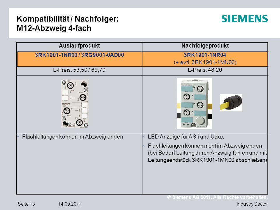 © Siemens AG 2011. Alle Rechte vorbehalten. Industry SectorSeite 1314.09.2011 Kompatibilität / Nachfolger: M12-Abzweig 4-fach AuslaufproduktNachfolgep