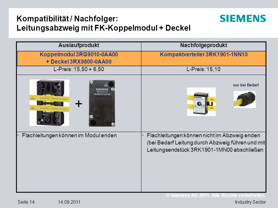 © Siemens AG 2011. Alle Rechte vorbehalten. Industry SectorSeite 1414.09.2011 Kompatibilität / Nachfolger: Leitungsabzweig mit FK-Koppelmodul + Deckel