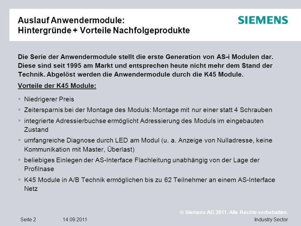 © Siemens AG 2011. Alle Rechte vorbehalten. Industry SectorSeite 214.09.2011 Auslauf Anwendermodule: Hintergründe + Vorteile Nachfolgeprodukte Die Ser