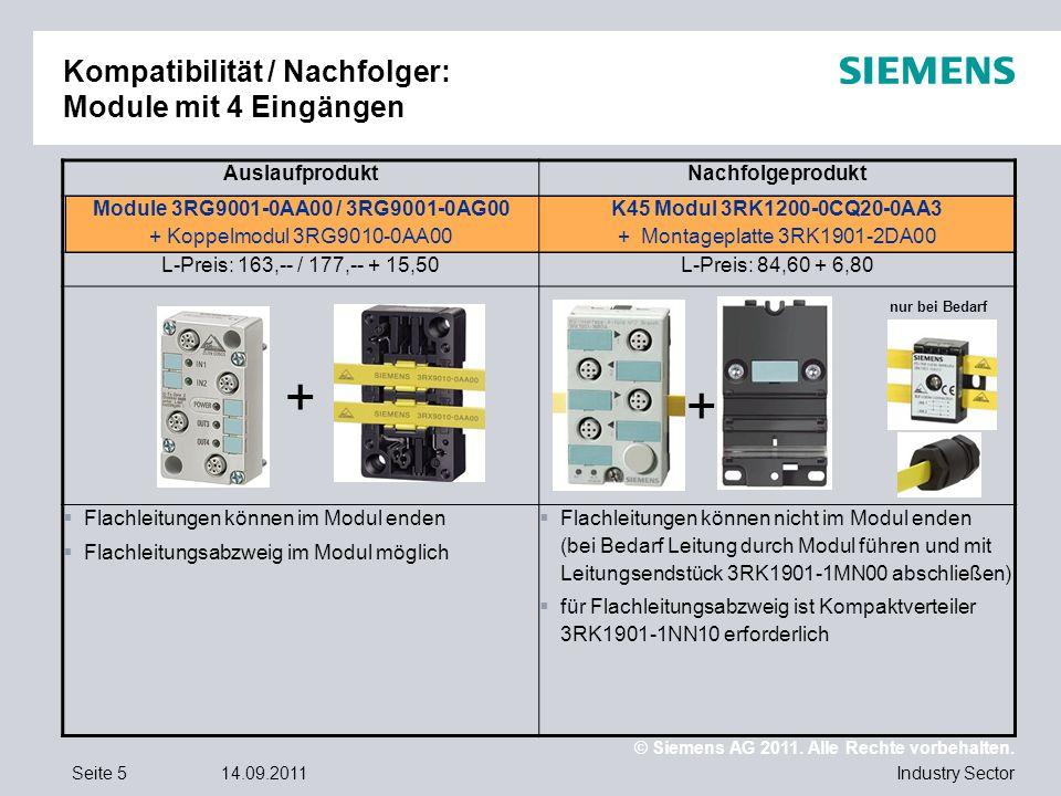 © Siemens AG 2011. Alle Rechte vorbehalten. Industry SectorSeite 514.09.2011 Kompatibilität / Nachfolger: Module mit 4 Eingängen AuslaufproduktNachfol