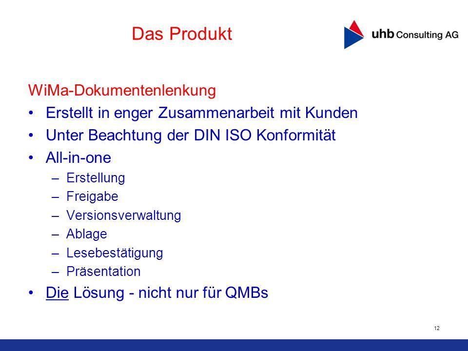 12 Das Produkt WiMa-Dokumentenlenkung Erstellt in enger Zusammenarbeit mit Kunden Unter Beachtung der DIN ISO Konformität All-in-one –Erstellung –Frei